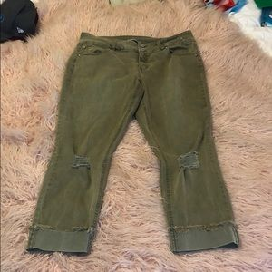Distressed Olive 7/8 Jeans